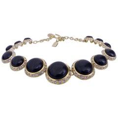 Vintage Yves Saint Laurent Cabochon Rhinestone Choker Necklace