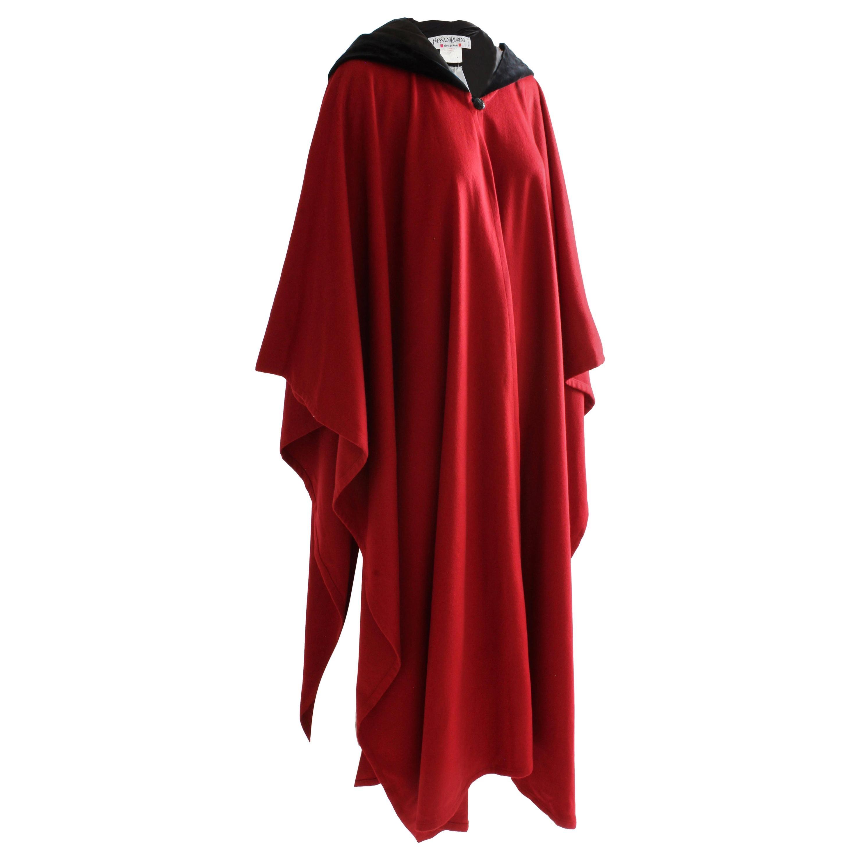 Vintage Yves Saint Laurent Cape Garnet Red Wool Black Velvet Hood 38 NWOT NOS