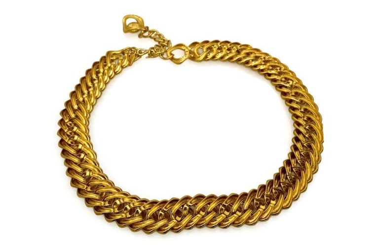 Women's Vintage YVES SAINT LAURENT Chunky Chain Necklace Belt For Sale