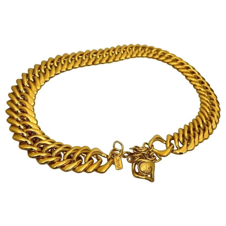 Vintage YVES SAINT LAURENT Chunky Chain Necklace Belt For Sale