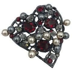Vintage Yves Saint Laurent Couture Heart Brooch
