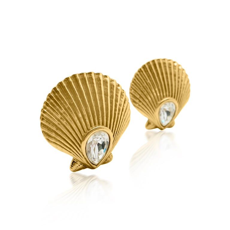 Vintage Yves Saint Laurent Crystal Shell Earrings 1980s In Good Condition For Sale In Wilmslow, GB