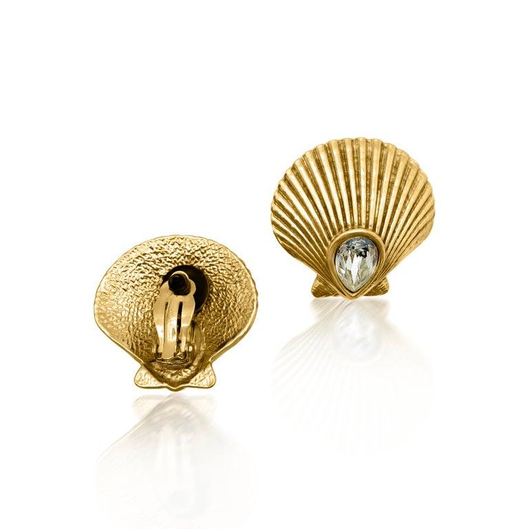 Women's or Men's Vintage Yves Saint Laurent Crystal Shell Earrings 1980s For Sale