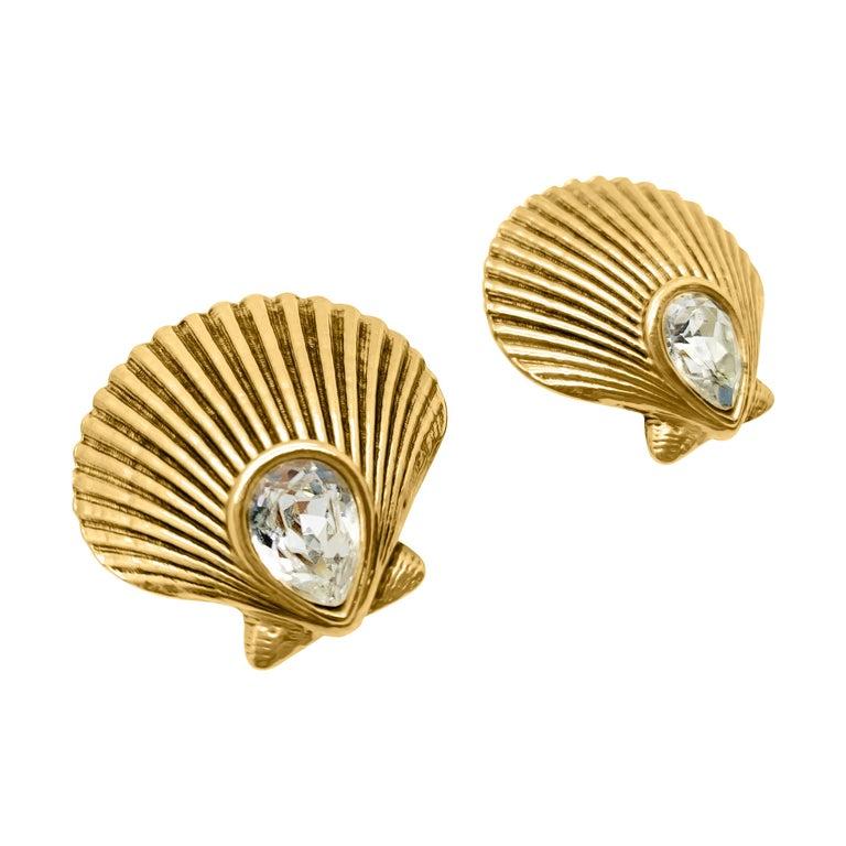 Vintage Yves Saint Laurent Crystal Shell Earrings 1980s For Sale