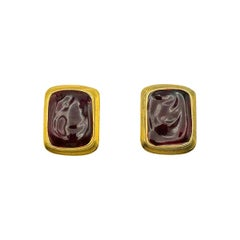 Vintage Yves Saint Laurent Deep Red Pate de Verre Earrings 1980s