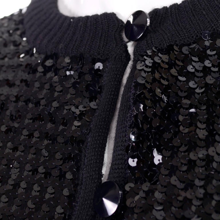 Vintage Yves Saint Laurent Evening Dress Alternative Black Skirt Suit W/ Sequins For Sale 6