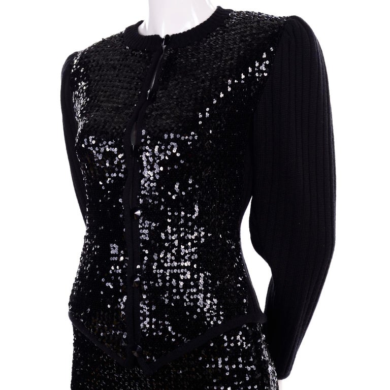 Vintage Yves Saint Laurent Evening Dress Alternative Black Skirt Suit W/ Sequins For Sale 7