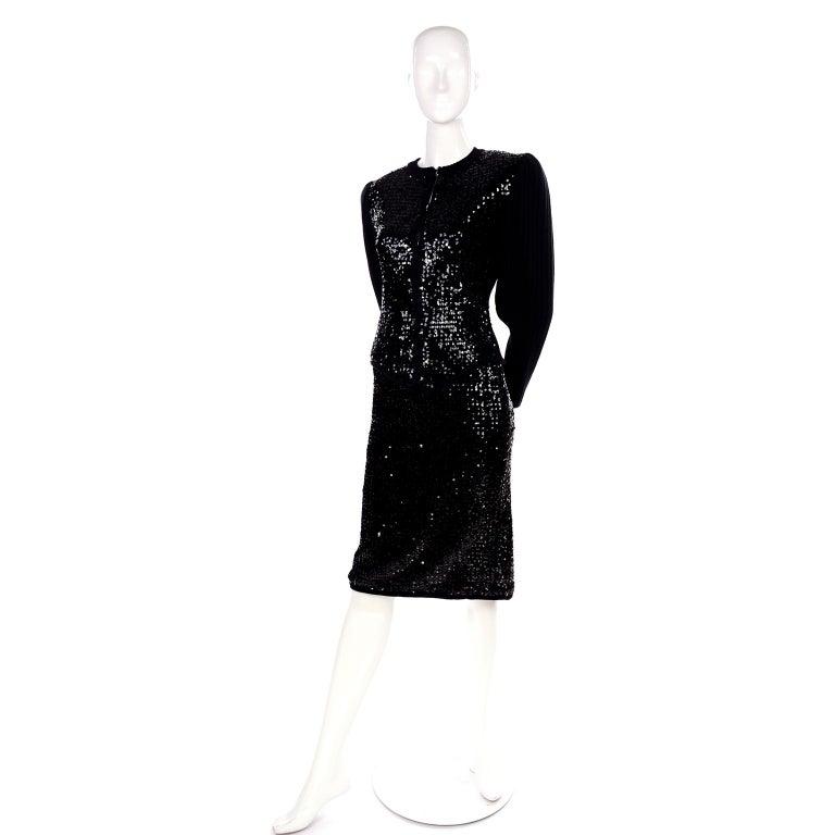 Vintage Yves Saint Laurent Evening Dress Alternative Black Skirt Suit W/ Sequins For Sale 8
