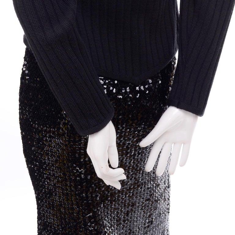 Vintage Yves Saint Laurent Evening Dress Alternative Black Skirt Suit W/ Sequins For Sale 2