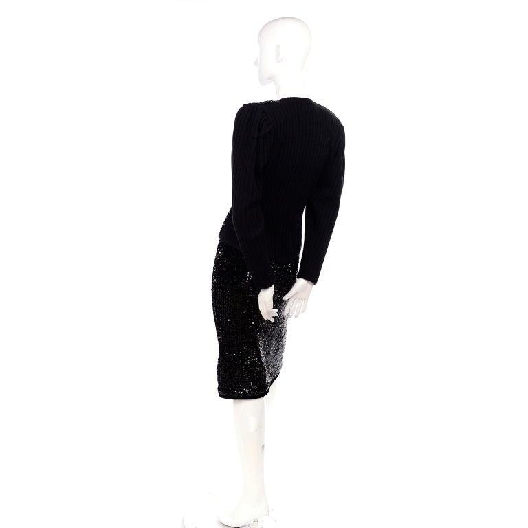 Vintage Yves Saint Laurent Evening Dress Alternative Black Skirt Suit W/ Sequins For Sale 4