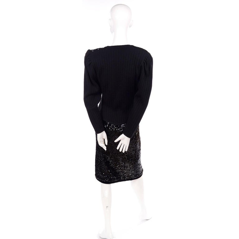 Vintage Yves Saint Laurent Evening Dress Alternative Black Skirt Suit W/ Sequins For Sale 5