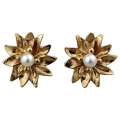 Vintage YVES SAINT LAURENT Flower Pearl Earrings