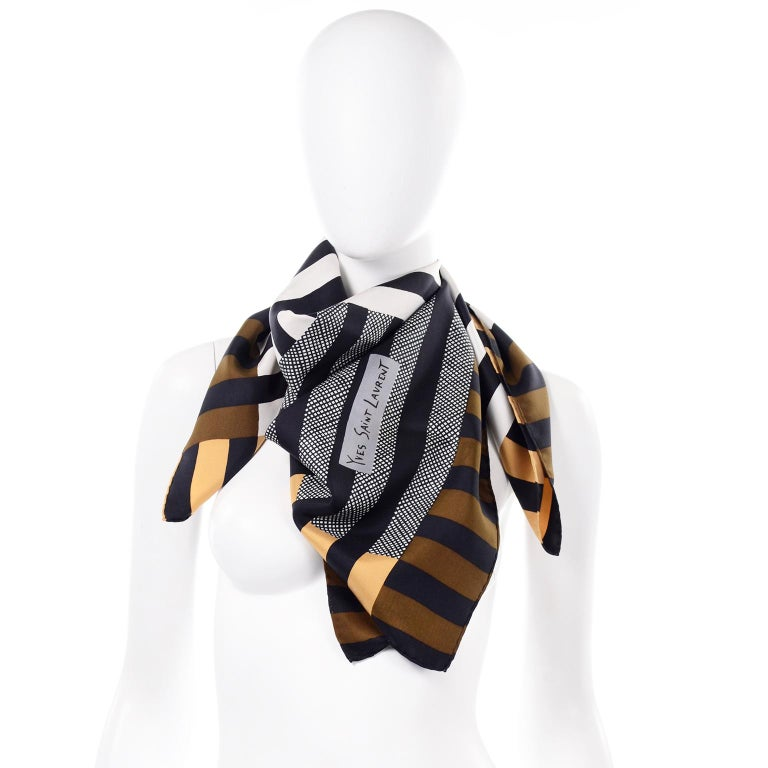 Vintage Yves Saint Laurent Geometric Lines Print Black Gold & Brown Silk Scarf In Excellent Condition For Sale In Portland, OR