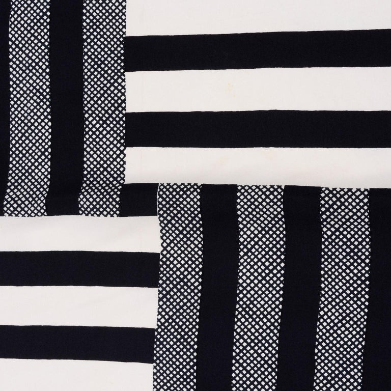 Women's Vintage Yves Saint Laurent Geometric Lines Print Black Gold & Brown Silk Scarf For Sale