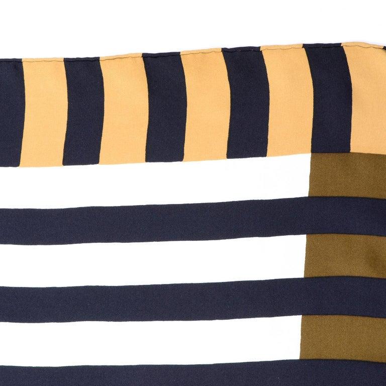 Vintage Yves Saint Laurent Geometric Lines Print Black Gold & Brown Silk Scarf For Sale 1
