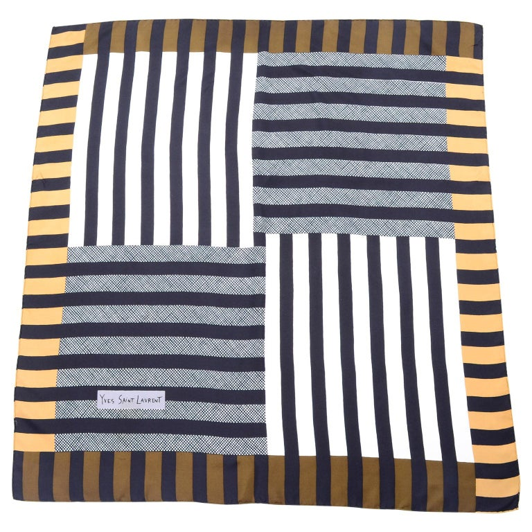Vintage Yves Saint Laurent Geometric Lines Print Black Gold & Brown Silk Scarf For Sale