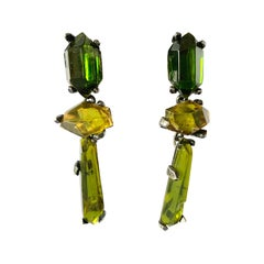 Vintage Yves Saint Laurent Giant Gem Green Statement Earrings