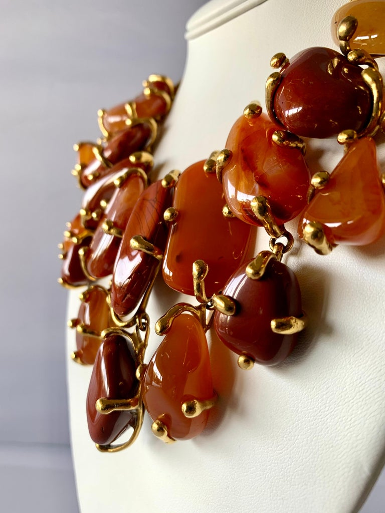 Vintage YSL statement necklace - comprised of large gilt metal nuggets and articulated rows of genuine polished carnelian. The exquisite necklace was made by Maison Robert Goossens for Yves Saint Laurent circa 1980/1990 - signed Yves Saint Laurent