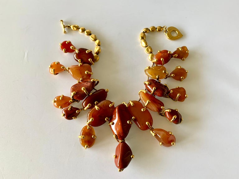 Vintage Yves Saint Laurent Gilt Carnelian Necklace In Excellent Condition For Sale In Palm Springs, CA