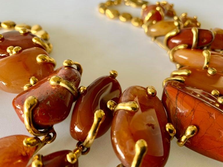 Vintage Yves Saint Laurent Gilt Carnelian Necklace For Sale 1