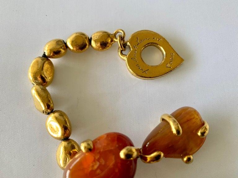Vintage Yves Saint Laurent Gilt Carnelian Necklace For Sale 2