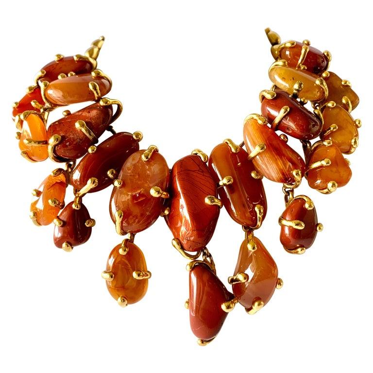 Vintage Yves Saint Laurent Gilt Carnelian Necklace For Sale