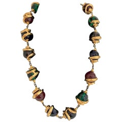 Vintage Yves Saint Laurent Gold and Glass Bead Necklace