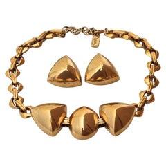 Vintage Yves Saint Laurent Gold Chunky Geometric Earrings Necklace Set