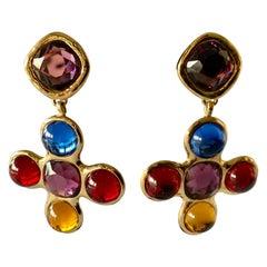 Vintage Yves Saint Laurent Gold Multi Color Cross Earrings