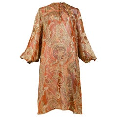 Vintage Yves Saint Laurent Gold Paisley Tunic Dress