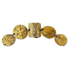 Vintage Yves Saint Laurent Gold Plated Bracelet with YSL logo