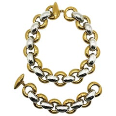 Vintage Yves Saint Laurent Gold & Silver Chunky Link Necklace & Bracelet 1970s