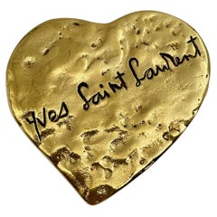 Vintage Yves Saint Laurent Gold Tone Heart Pendant Brooch