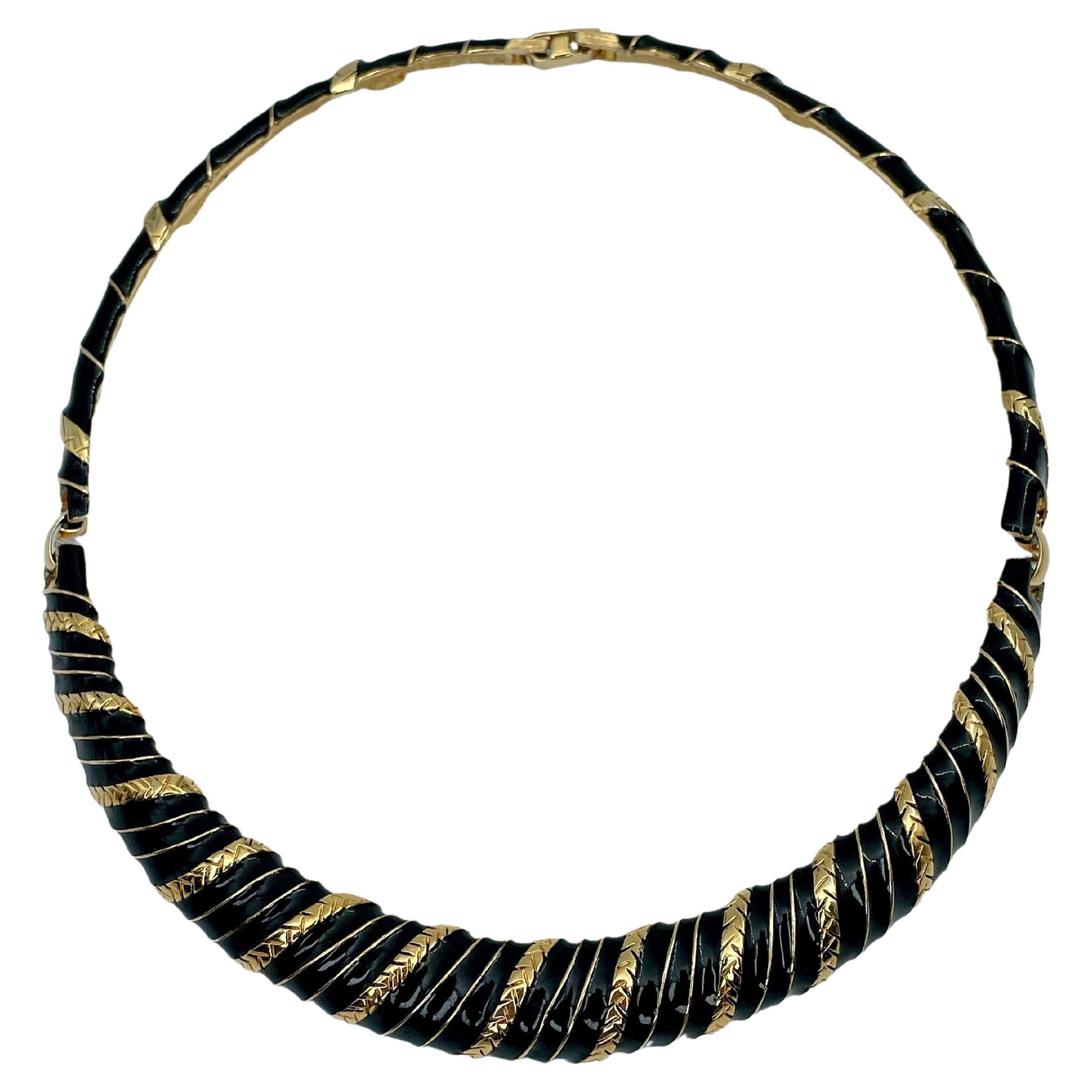 Vintage Yves Saint Laurent Gold Tone Striped Black Collier Necklace