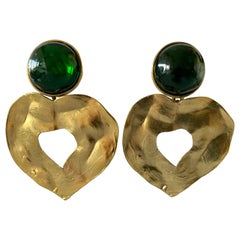 Vintage Yves Saint Laurent Green and Gold Heart Statement Earrings