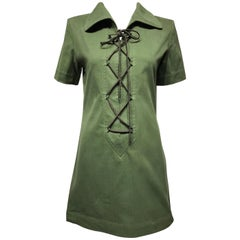 Vintage Yves Saint Laurent Green Cotton Safari Mini Dress