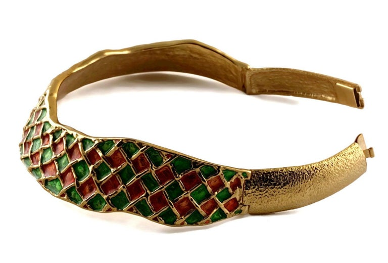 Women's Vintage YVES SAINT LAURENT Harlequin Enamel Rigid Choker Necklace For Sale