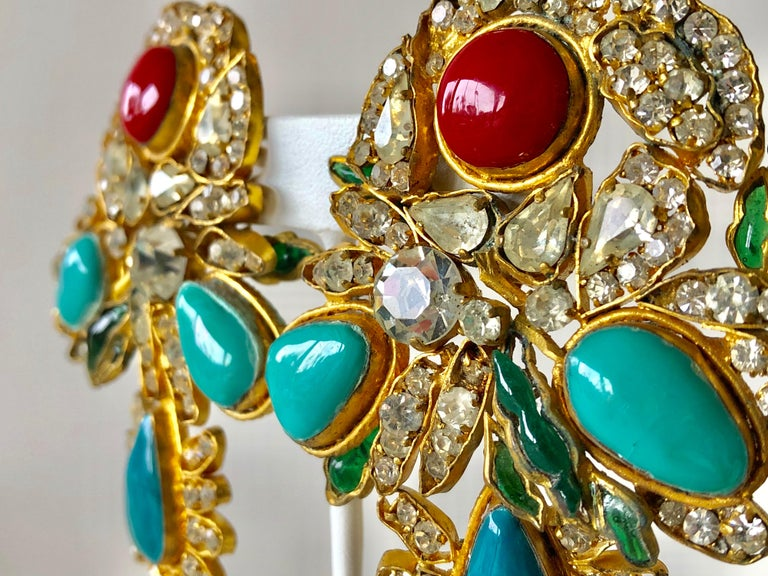 Vintage Yves Saint Laurent Haute Couture Mughal Chandelier Statement earrings  For Sale 6