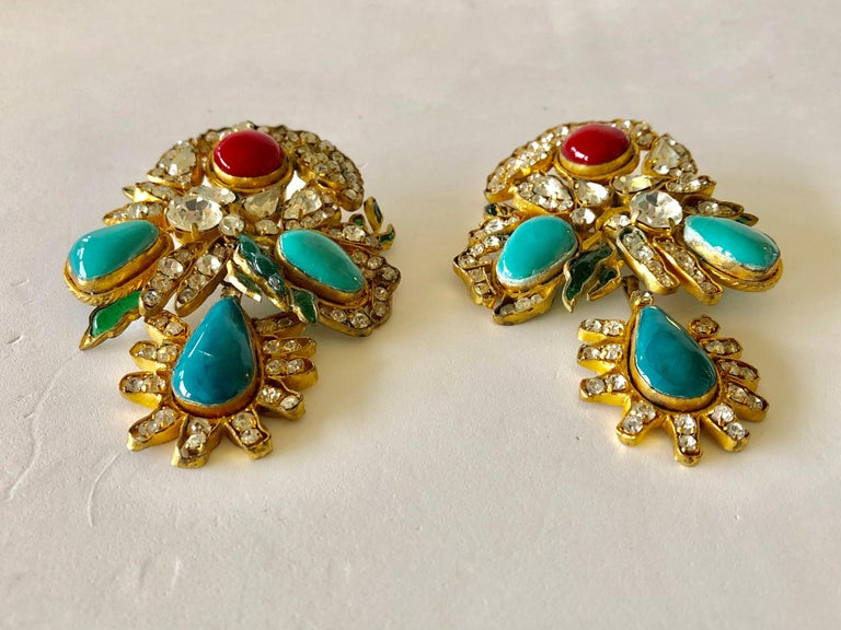 Vintage Yves Saint Laurent Haute Couture Mughal Chandelier Statement earrings  For Sale 7