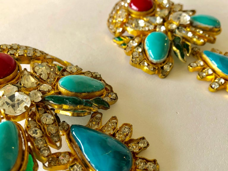Vintage Yves Saint Laurent Haute Couture Mughal Chandelier Statement earrings  For Sale 8
