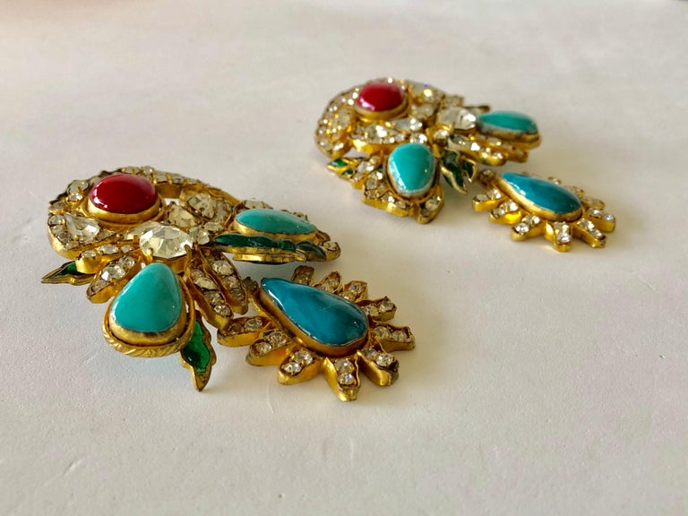Vintage Yves Saint Laurent Haute Couture Mughal Chandelier Statement earrings  For Sale 9