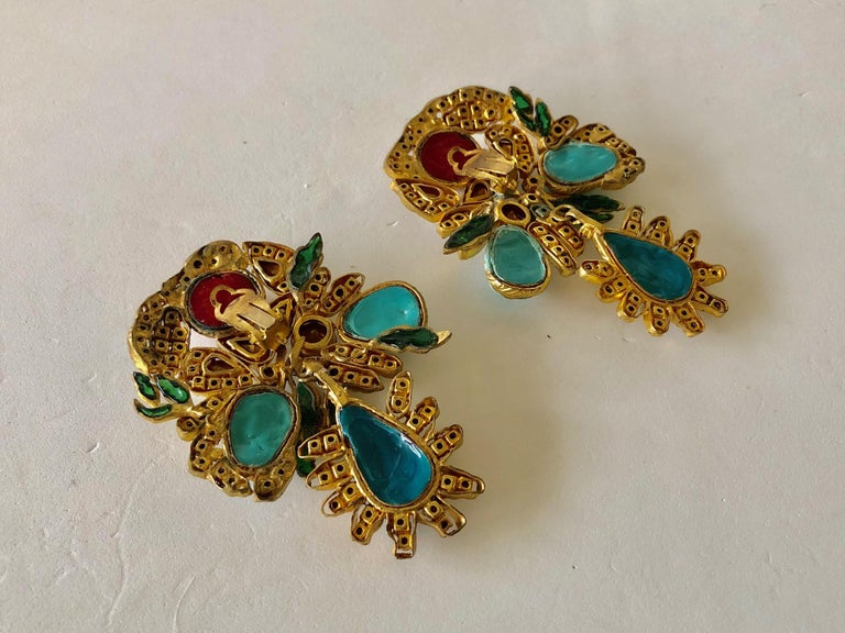 Vintage Yves Saint Laurent Haute Couture Mughal Chandelier Statement earrings  For Sale 10