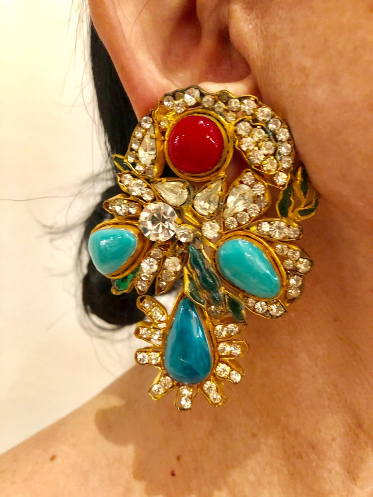 Monumental vintage Yves Saint Laurent haute coture mogul style clip-on statement earrings - the extrememly scarce clip on earrings are comprised out of  gilt metal (metal dore), pate de verre and strass stones and where produced in the famous