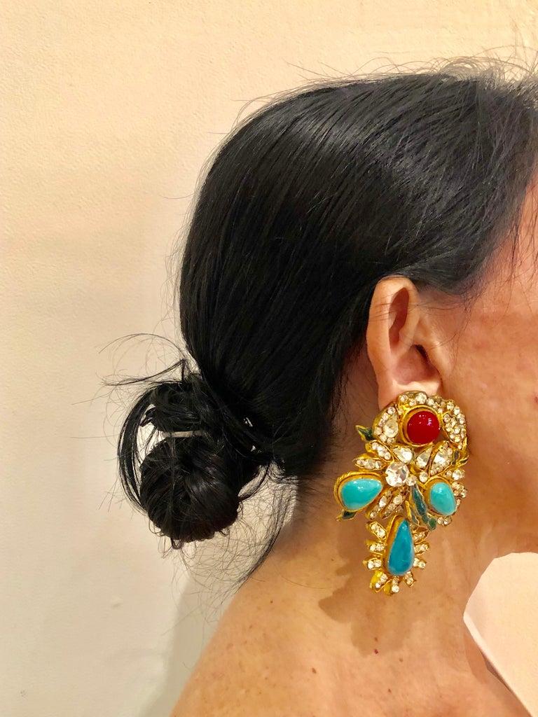 Women's Vintage Yves Saint Laurent Haute Couture Mughal Chandelier Statement earrings  For Sale