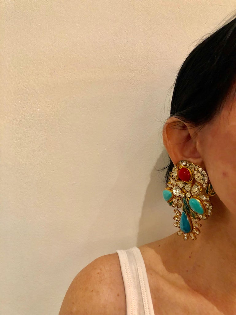Vintage Yves Saint Laurent Haute Couture Mughal Chandelier Statement earrings  For Sale 1
