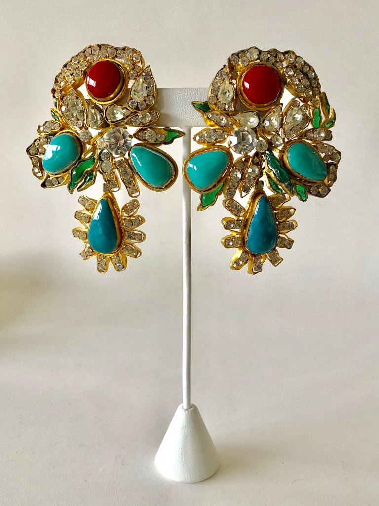 Vintage Yves Saint Laurent Haute Couture Mughal Chandelier Statement earrings  For Sale 2