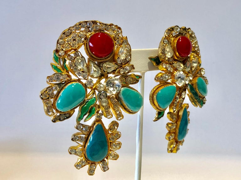 Vintage Yves Saint Laurent Haute Couture Mughal Chandelier Statement earrings  For Sale 3