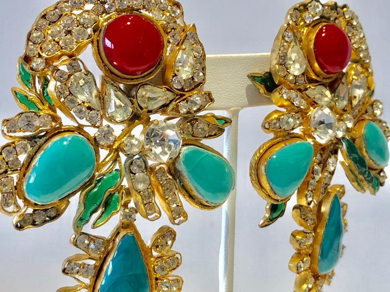 Vintage Yves Saint Laurent Haute Couture Mughal Chandelier Statement earrings  For Sale 4