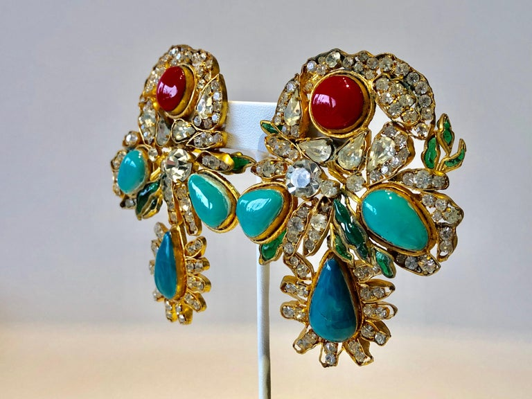 Vintage Yves Saint Laurent Haute Couture Mughal Chandelier Statement earrings  For Sale 5