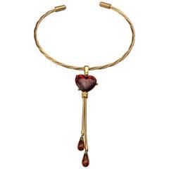 Vintage YVES SAINT LAURENT Heart Leopard Lariat Necklace